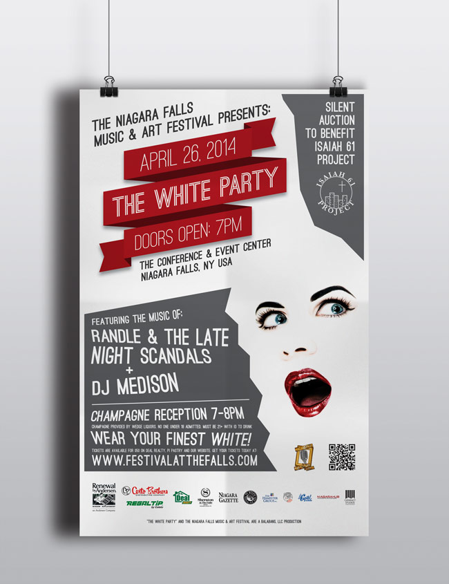 Niagara Falls Music and Art Festival White Party Poster