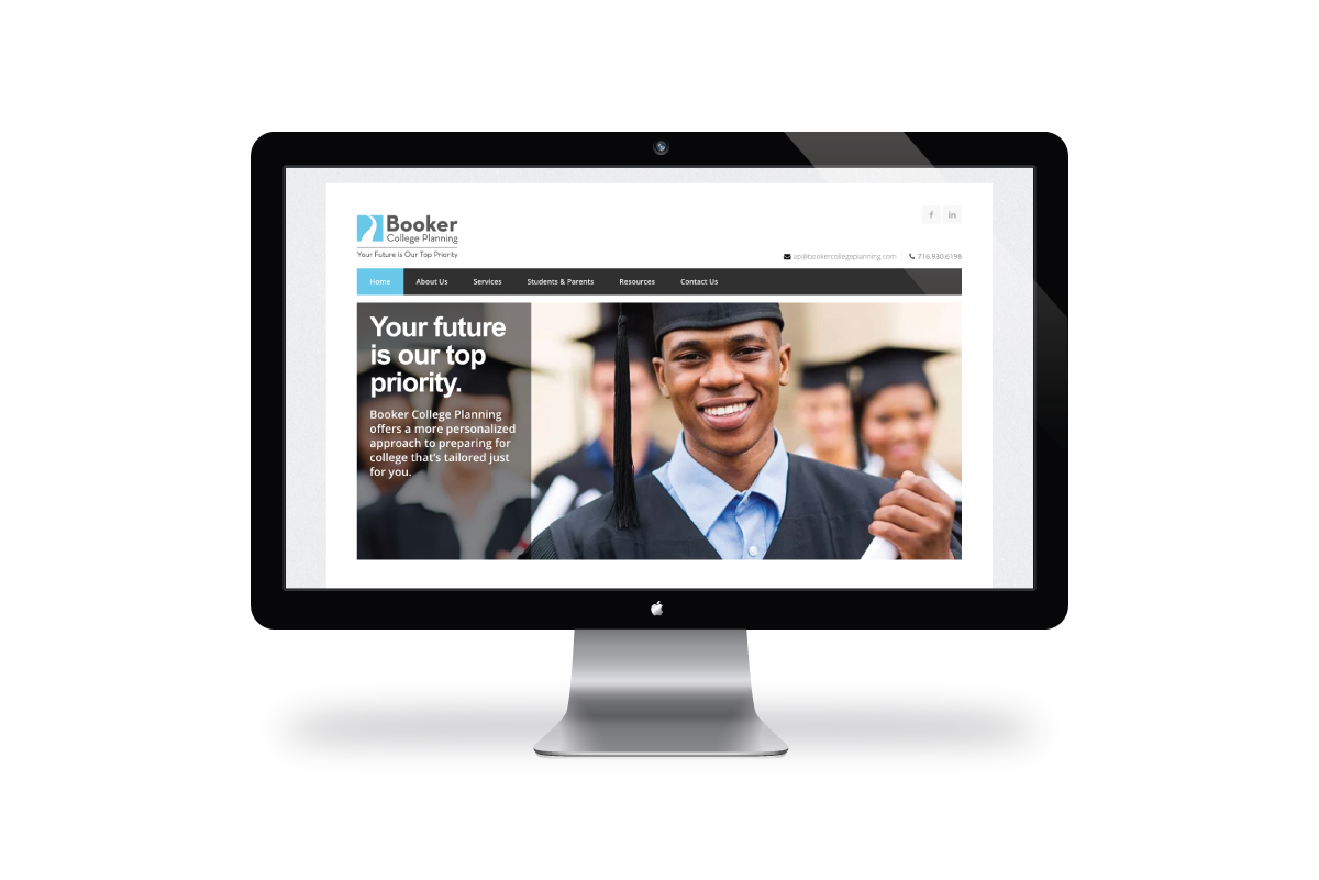 Booker College Planning website on video monitor