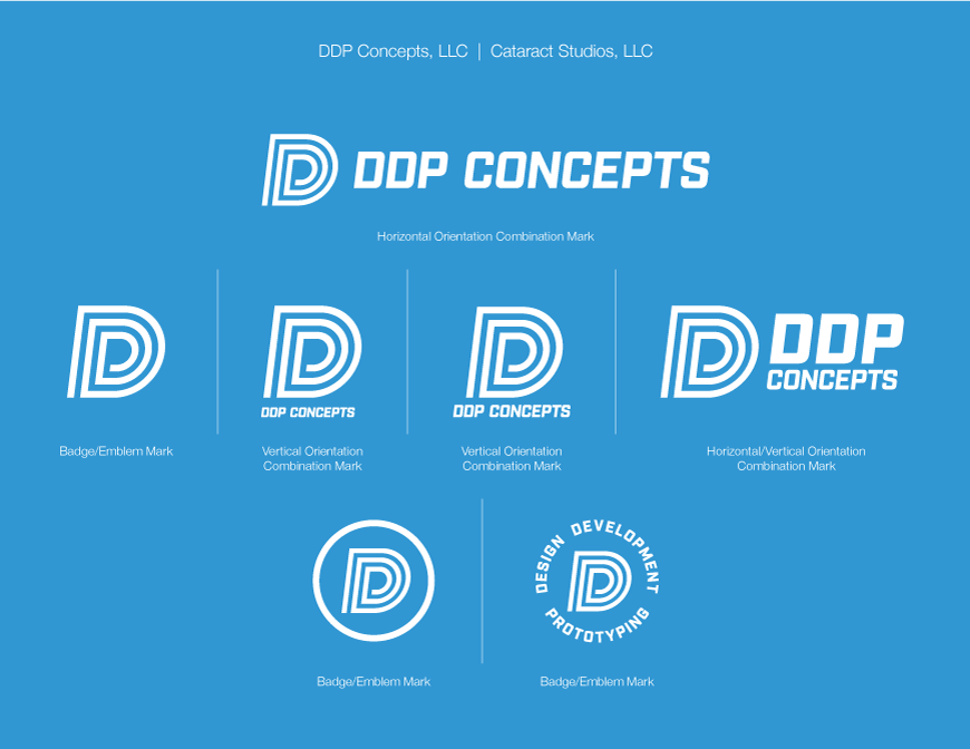 DDP Concepts white logo on light blue